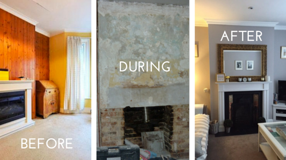 Duration: 1 weekend   A working fireplace was the best discovery of our refurb. We'd removed a gas fire, knocked through the plaster and there it was! We sourced a fireplace surround on  Gumtree . All it took was a couple of coats of white eggshell paint and black heat-proof  fireplace spray  to get it back into shape, with a black slate hearth we sourced locally.* By luck, it arrived with its original Victorian tiles.   The project took a weekend (excluding plastering/painting the surrounding wall) - not bad for a big focal point of HomeLife. Our companion set was a bargain from  B&Q , which also offers  affordable fire screens . Mog is a big heat worshipper so we use the screen to protect her when a piece of firewood starts to 'spit'. If you ever get new carpet in your living room, use an off-cut of carpet as a protector / camouflaged rug.