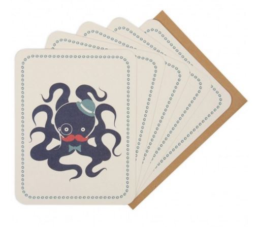 Bathroom   Why not add some nautical charm to a bathroom with a framed octopus notecard?    £6, Paperchase, box of 8.