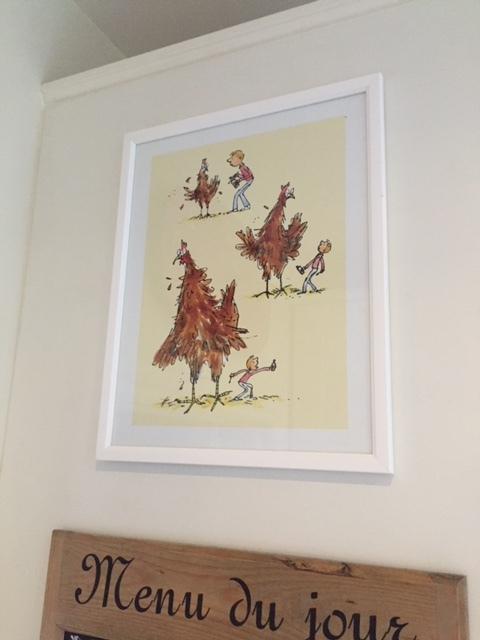 George's Marvellous Medicine framed print (from Achica) displayed in our kitchen on the side of a cupboard.