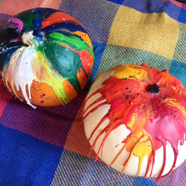 Not the prettiest but I like this crafty look - fun, messy and a great way to jazz up plain pumpkins.