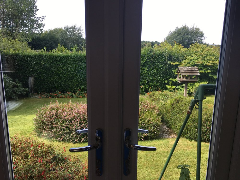View from the sun room - we removed the laurel arch to create a bigger garden for the boys.
