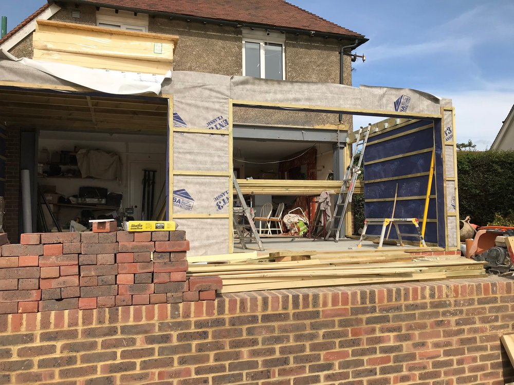 Starting to shape up: The left hand side is the kitchen window area, right hand side is where the bi-fold doors are.