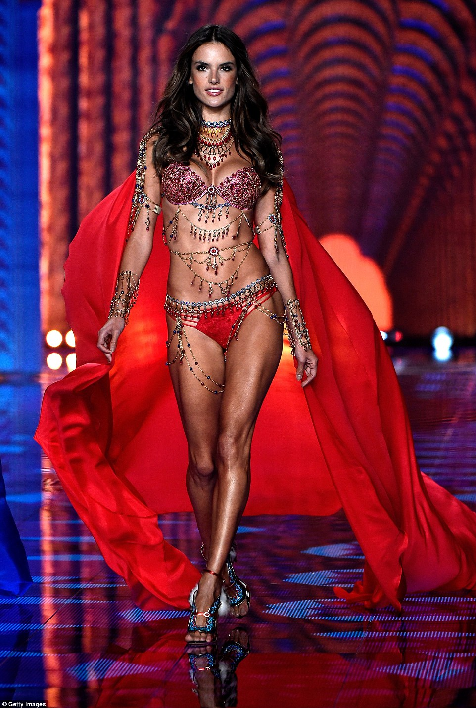 ed5d2ac5e3 Brazilian goddess Alessandra Ambrosio floats her Angel Cape sans wings as  she models one of two Fantasy bras ...