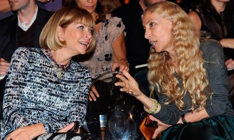 Franca Sozzani (right), editor-in-chief of Vogue Italia, pictured with the US editor of Vogue, Anna Wintour. Photograph: Daniel Dal Zennaro/EPA