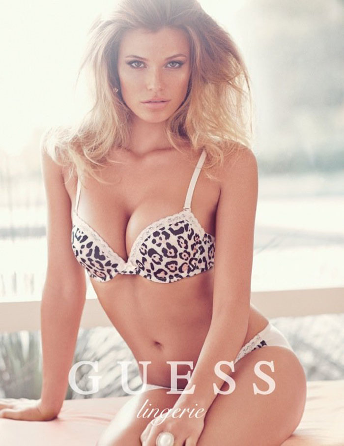 02c9a9a548c15 Samantha Hoopes is center stage in Guess lingerie's spring 2014 campaign.  Samantha wears sexy, romantic pushup bras to enhance the brand's bombshell  appeal.