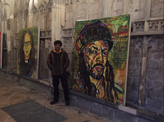 Two Russell Haines' 'Faith' portraits exhibited at Gloucester Cathedral Feb. 2017