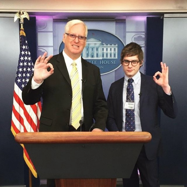 Gateway pundit founder Jim Hoft with lucian wintritch at trump/trudeau at january 2016 press conference