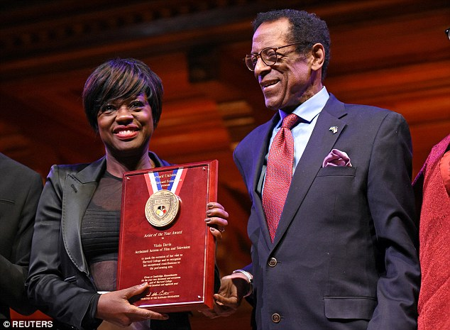 51-year-old actor Viola Davis accepted Harvard Foundation's Artist of the Year 2017 award from Harvard Professor of Neurology, Dr S. Allen Counter