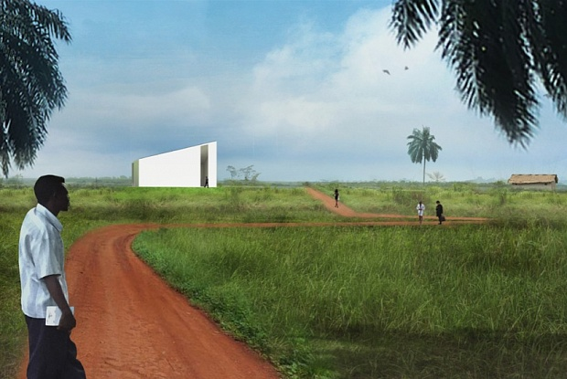 A RENDERING OF THE WHITE CUBE IN LUSANGA (IMAGE: © OMA)