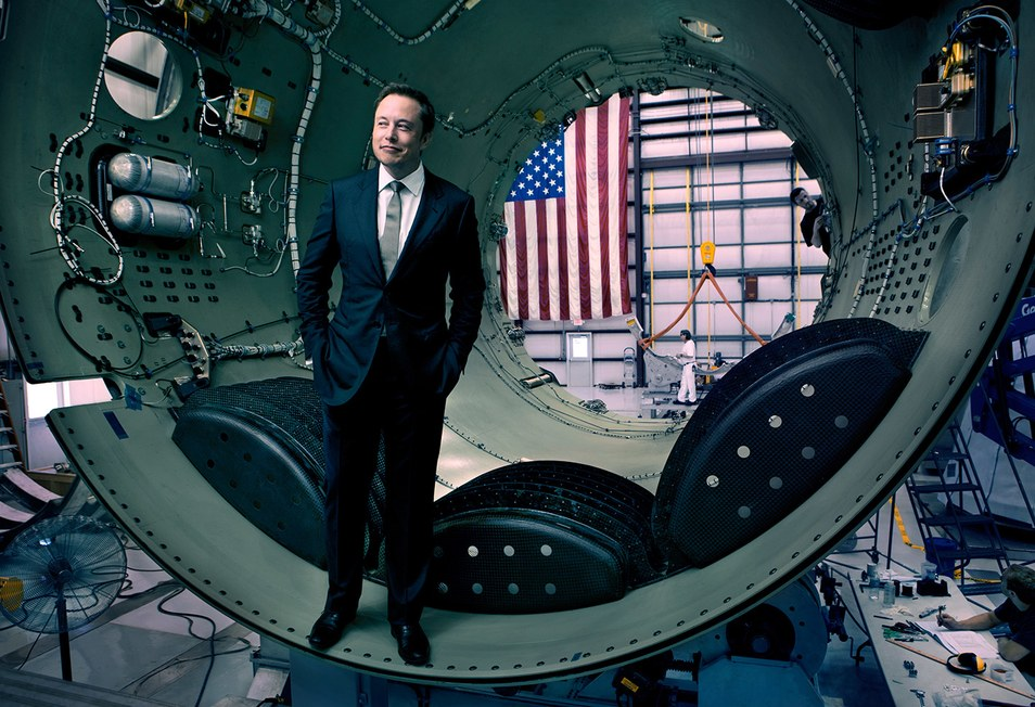 PROPHET MOTIVE Elon Musk, co-founder of Tesla and OpenAI, inside part of a SpaceX Falcon 9 rocket, in Cape Canaveral, Florida, 2010.Photograph by Jonas Fredwall Karlsson.