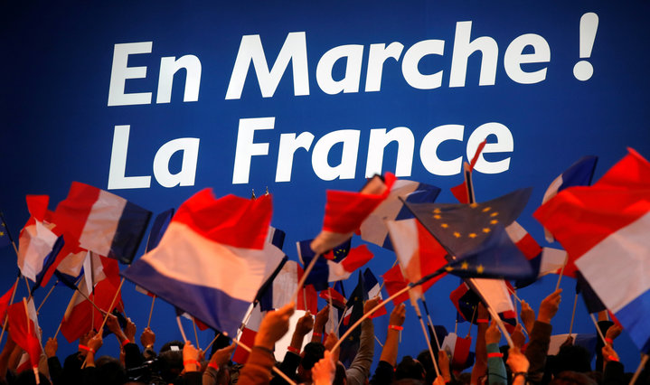 Supporters of Emmanuel Macron celebrate in Paris.