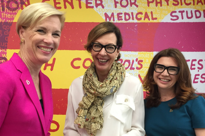 Planned Parenthood president Cecile Richards with 'Mom' star Allison Janney and series co-creator Gemma Baker
