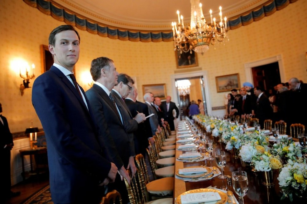 Jared Kushner, left, attends a dinner Monday welcoming Indian Prime Minister Narendra Modi to the White House. (Carlos Barria/Reuters)
