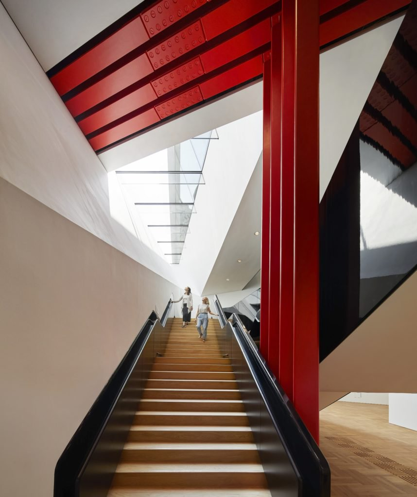 Descending staircase, the V&A Exhibition Road Quarter, designed by AL_A ©Hufton+Crow, courtesy Victoria and Albert Museum.