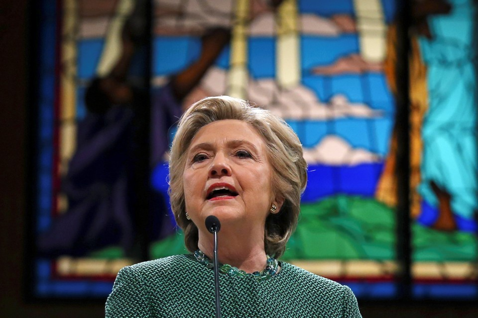 Hillary Clinton speaks at Union Baptist Church in Durham, North Carolina, in October 2016.