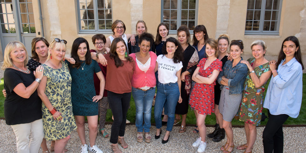 Mariane Pearl leads storytelling workshop for Women's Bylines at Kering offices in Paris, July 2017