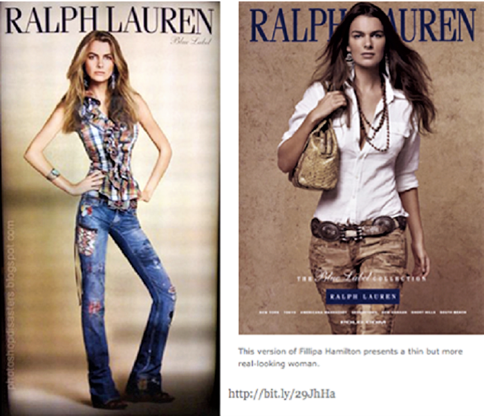 The firing of Filippa Hamilton by Ralph Lauren launched the battle against size-O models big-time in 2009. The real size-4 Hamilton is on the right; the Asia-based photoshopped Hamilton is on the left.