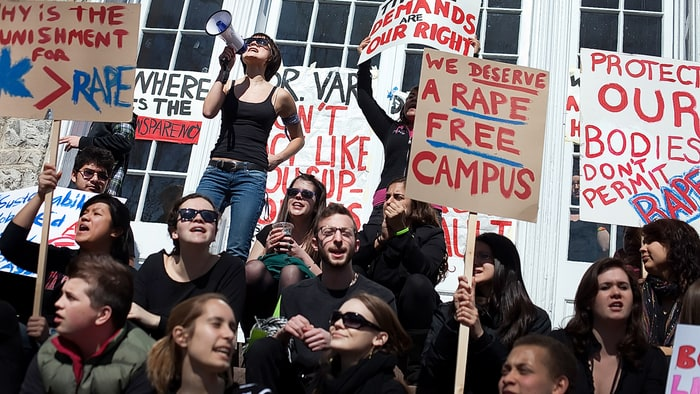 Over 250 Dickinson College students gathered to protest against sexual assault on campus Christine Baker/The Patriot-News /Landov