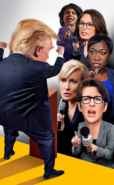 Trump contends with, from top, April Ryan, Maggie Haberman, Joy-Ann Reid, Mika Brzezinski, and Rachel Maddow. Photo Illustration by Darrow; Photographs, from Getty Images (Trump's Head), by Shannon Finney (Brzezinski's Head), Paras Griffin (Ryan's Head), from NBC Newswire (Reid's Head), by Ray Tamarra (Maddow's Head), all from Getty Images.