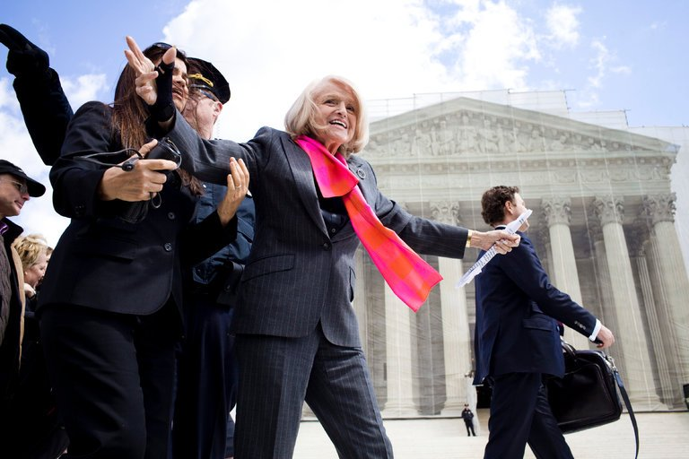 Ms. Windsor gestures to supporters on the steps of the Supreme Court building as justices were hearing her case in March 2013.CreditChristopher Gregory/The New York Times