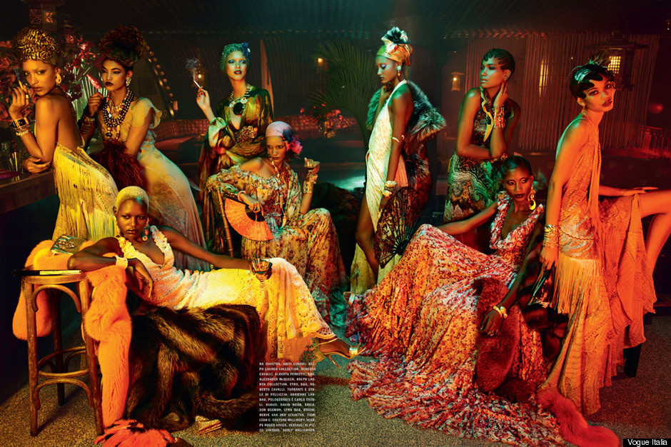For the first time since its famous all-black issue of July, 2008, Italian Vogue printed a magnificent 17-page editorial 'Black Allure' lensed by Emma Summerton, featuring twelve black models Aminata Niaria, Ajak Deng, Chanel Iman, Rose Cordero, melodie Monrose, Jourdan Dunn, Arlenis Sosa Peña, Georgie Badiel, Sessilee Lopez, Kinée Diouf, and Joan Smalls.