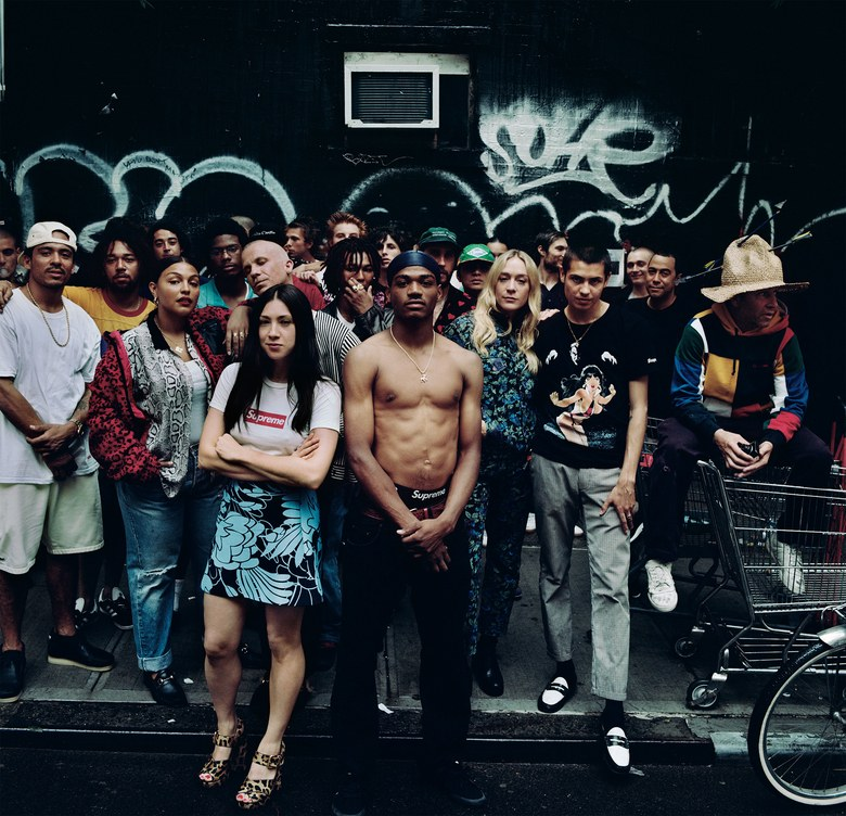 Got WheelsSupreme skaters Javier Nunez and Tyshawn Lyons, model Paloma Elsesser, Jen Brill, skater Tyshawn Jones, Chloë Sevigny, skaters Sean Pablo Murphy and Mark Gonzales, all wearing a mix of Supreme and their own clothing.Photographed by Anton Corbijn, Vogue, September 2017