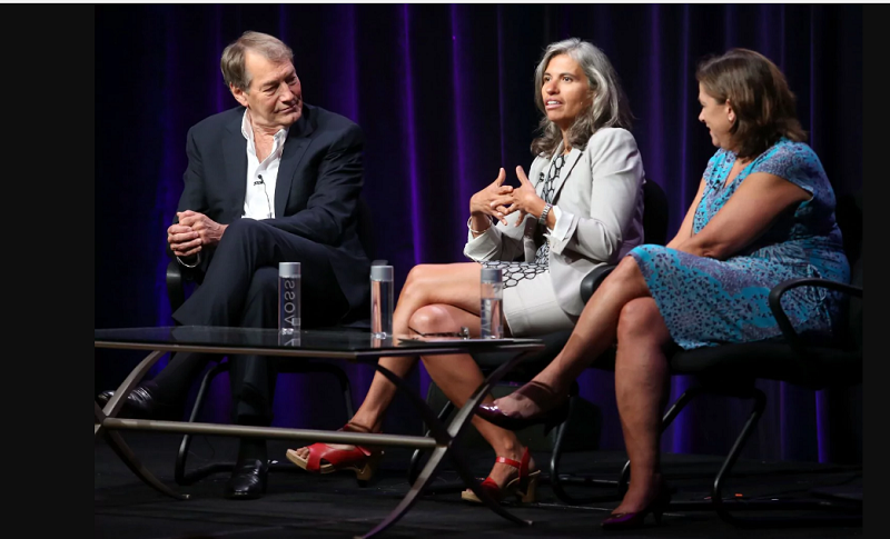 "From left: Rose, ""Charlie Rose"" show executive producer Yvette Vega and Beth Hoppe, a PBS executive, speak at the 2013 Summer Television Critics Association tour in Beverly Hills, Calif. Two women who spoke to The Post said they repeatedly reported Rose's inappropriate sexual behavior to Vega. In a statement, Vega says she regrets not doing more to protect the young women on the show. (Frederick M. Brown/Getty Images)"