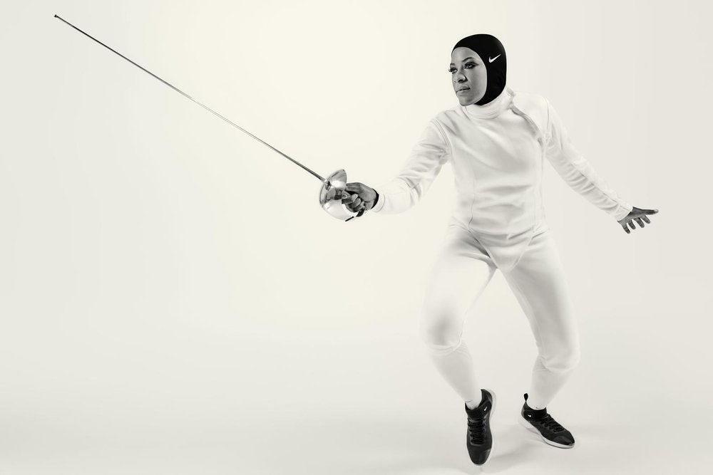 Nike athlete and champion fencer Ibtihaj Muhammad in the Nike Pro Hijab
