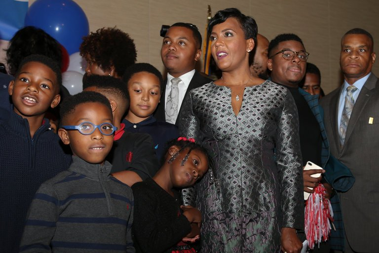Keisha Lance Bottoms at an election night watch party in Atlanta early Wednesday. Ms. Bottoms declared victory after a close mayoral race on Tuesday, but her opponent, Mary Norwood, said she would request a recount. CreditJohn Bazemore/Associated Press