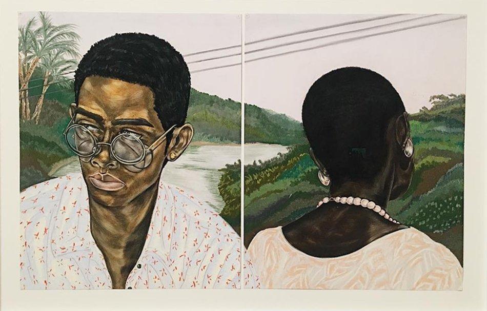 Toyin Ojih Odutola's Industry (Husband and Wife)(2017). ©Toyin Ojih Odutola. Courtesy of the artist and Jack Shainman Gallery, New York.