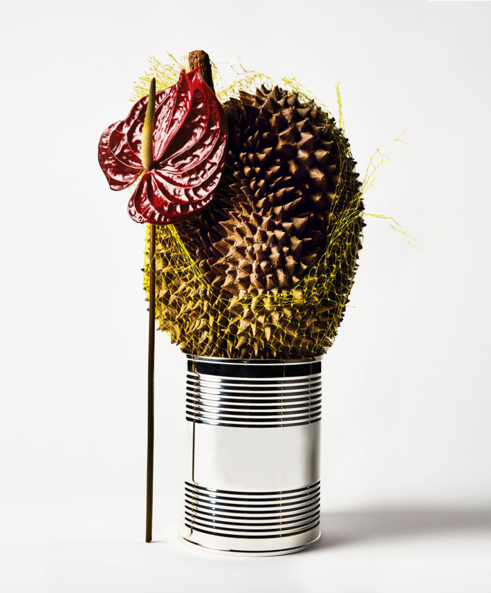 Anthurium, durian, with a Tiffany & Co. sterling-silver coffee can, $1,500 at  tiffany.com .