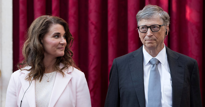 Melinda and Bill Gates Reuters Pool Photo taken at Elysee Palace in Paris, France on April 21, 2017.