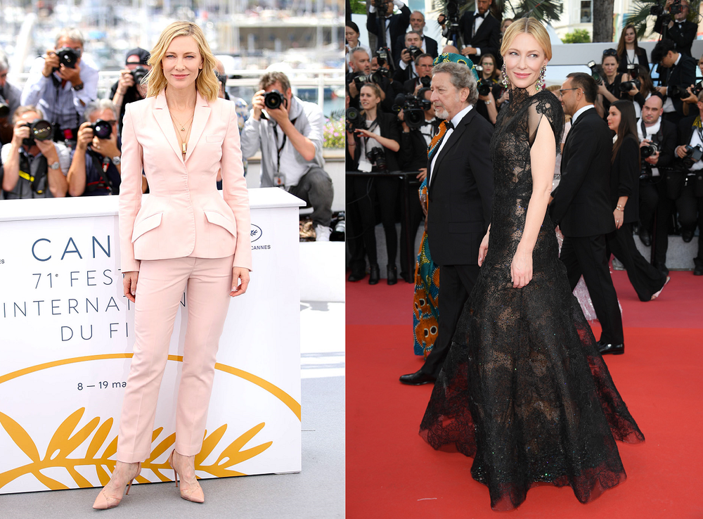 Cannes 2018 jury president Cate Blanchett promotes fashion sustainability as a major theme of her Cannes wardrobe and photo ops. Blanchett wears a pink pantsuit from Stella McCartney and recycles her 2014 Golden Globes Armani Prive black gown on the Cannes red carpet.
