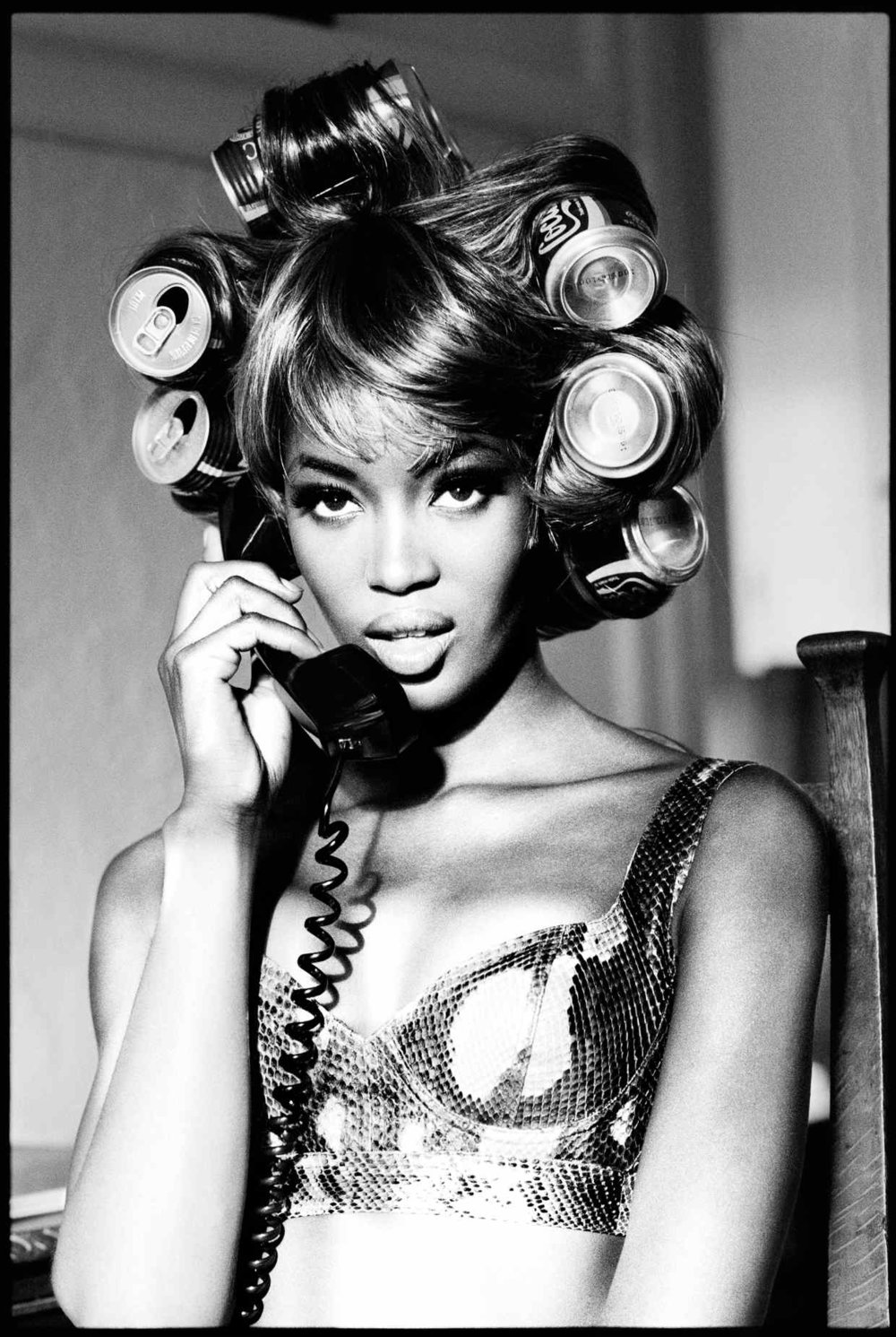 Naomi's Rollers, Naomi Campbell, Interview Magazine, Los Angeles, 1991; black & white print on baryte paper, 100cm x 70cm, £16,800