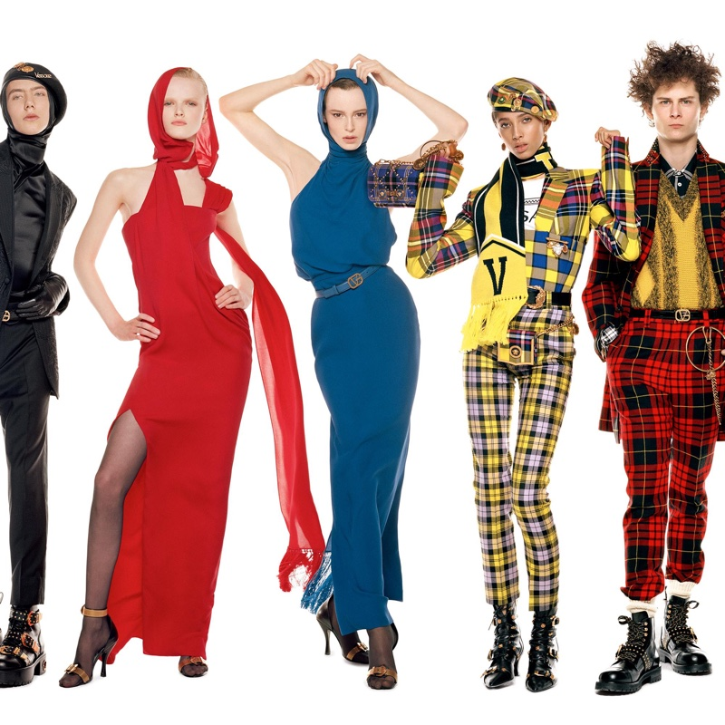 Paul Hameline, Hannah Motler, Gisele Fox, Yasmine Wijnaldum and Skylar Penn by Steven Meisel for Versace Fall-Winter 2018 campaign.