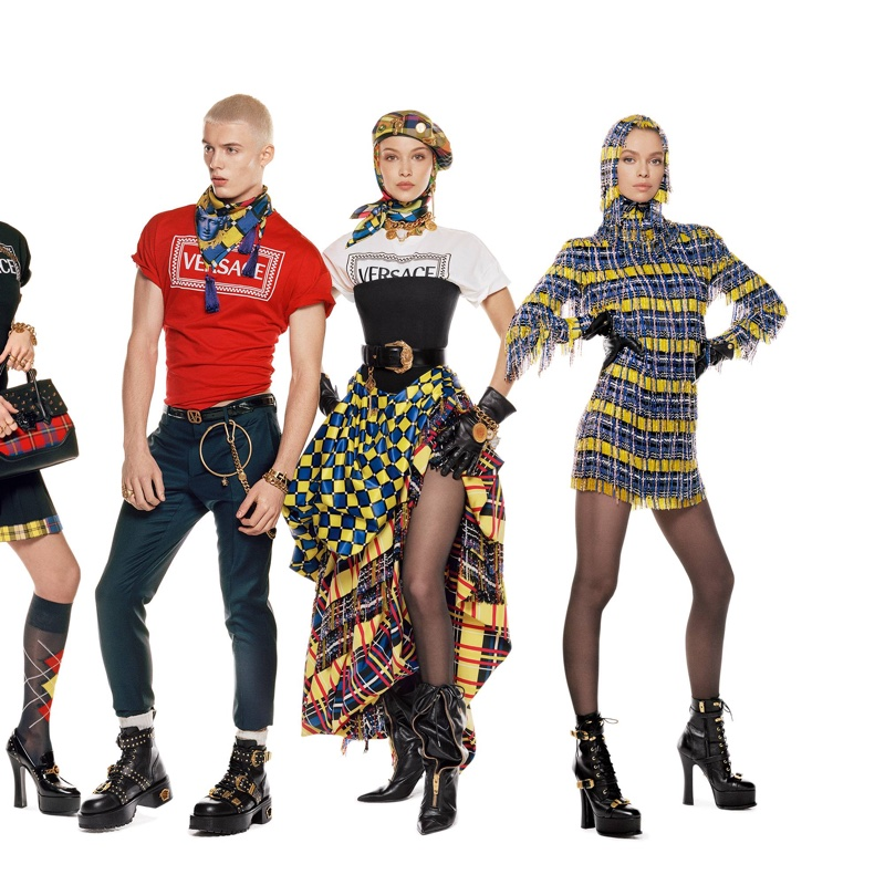 Joao Knorr, Bella Hadid and Stella Maxwell by Steven Meisel for Versace Fall Winter 2018 campaign