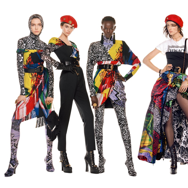 Léa Julian, Kaia Gerber, Shanelle Nyasiase and Rachel Marx by Steven Meisel for Versace Fall-Winter 2018 campaign