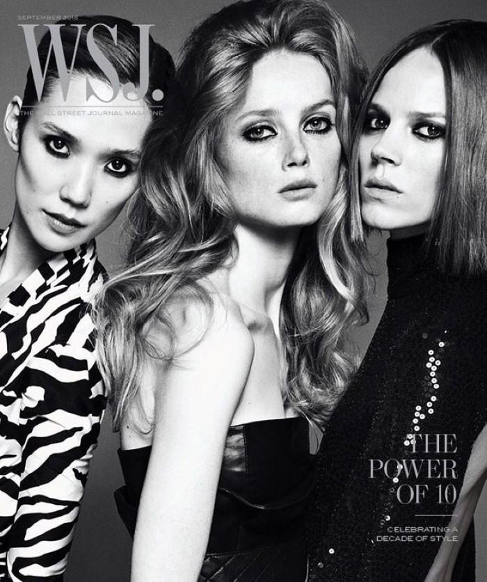 Tao Okamoto in Balenciaga, Rianne Van Rompaey in Versace, and Freja Beha Erichsen in Michael Kors Collection