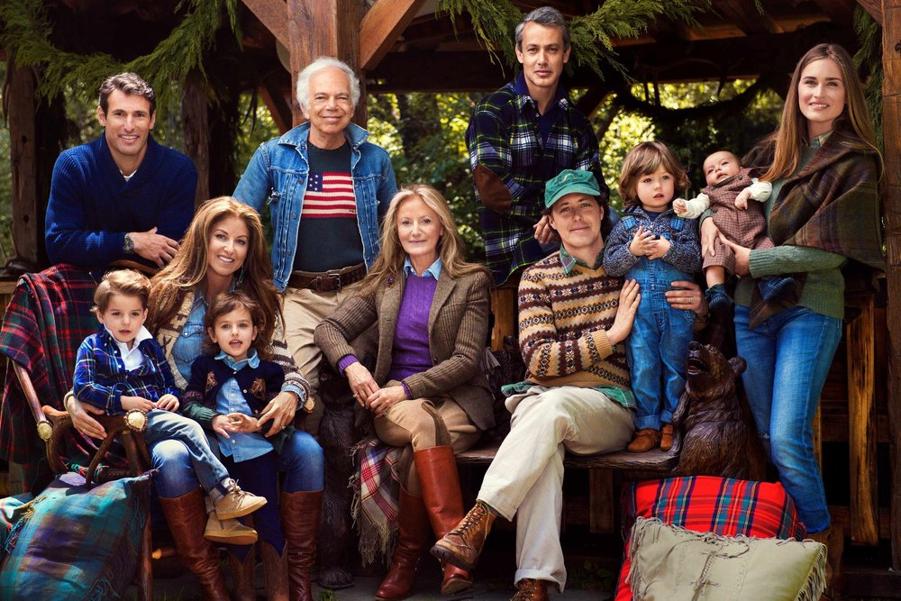 THE LAUREN FAMILY, FROM LEFT: SON-IN-LAW PAUL ARROUET, COOPER BLUE AND KINGSLEY RAINBOW AND DYLAN LAUREN, RALPH LAUREN, RICKY LAUREN, ANDREW LAUREN, DAVID LAUREN AND JAMES RICHARD AND MAX WALKER WITH DAVID'S WIFE LAUREN BUSH LAUREN.   by Pamela Hanson