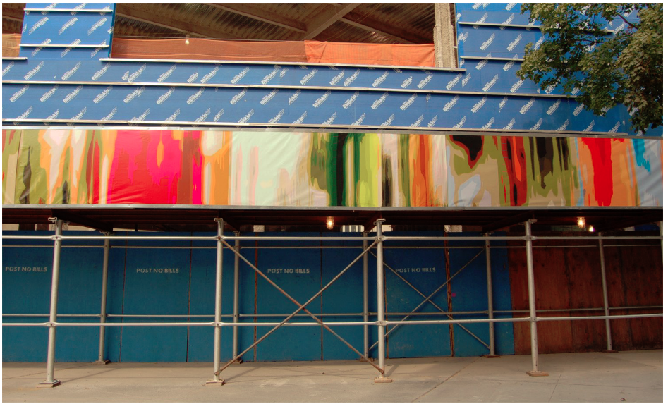Monika Bravo,  Breathing Wall  on a New York City construction site. Photo courtesy of the artist via NYC Department of Cultural Affairs.