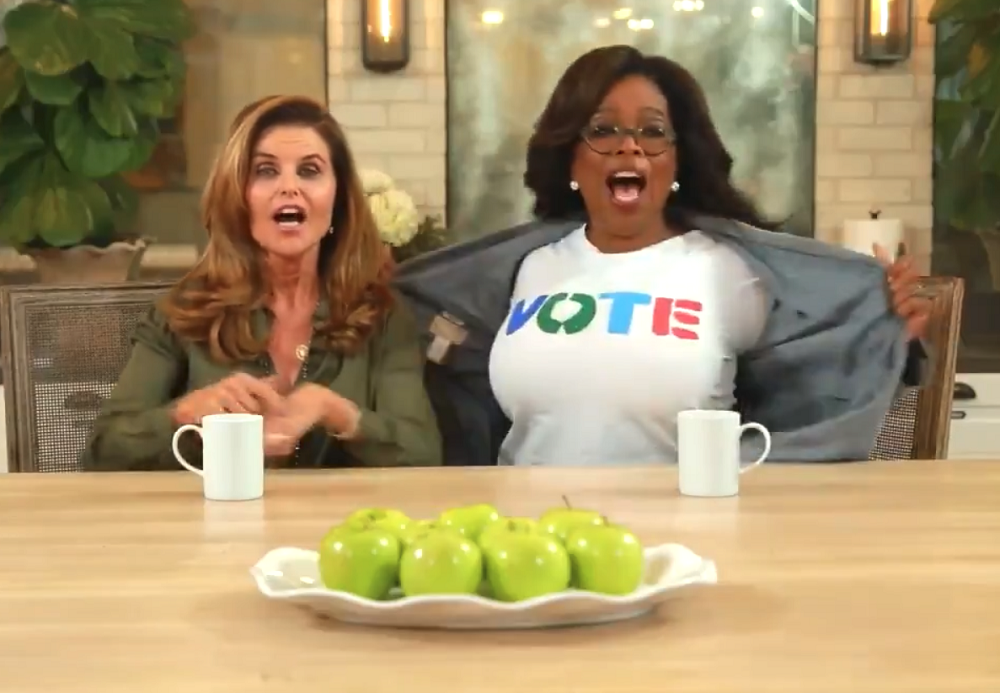 "Oprah urges her 42 million Twitter fans to head to the polls, sitting alongside her longtime friend, NBC News' Maria Shriver in a new public service ad. The media mogul says about voting ""Our country depends upon it."""