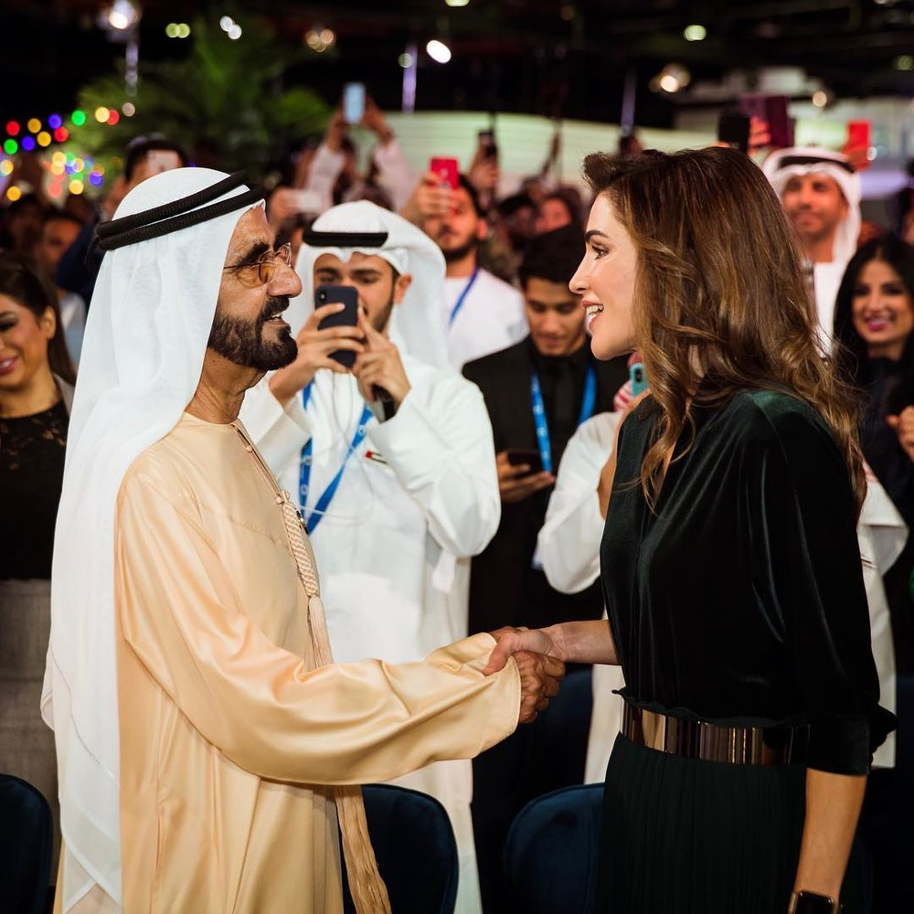 His Highness Sheikh Mohammed bin Rashid Al Maktoum greets HM Queen Rania Al Abdullah of Jordan at Dubai's Arab Social Media Influencers Summit Monday, Dec. 10, 2018.