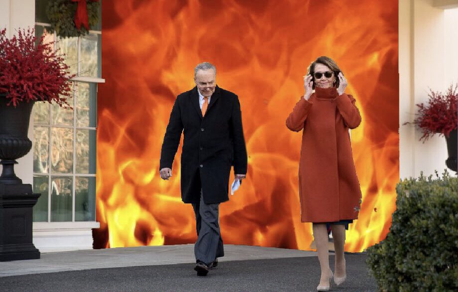 Nancy Pelosi and Chuck Schumer leaving the White House after meeting with Trump on Tuesday. Pelosi's coat and shades created epic memes on Twitter, after her take-no-prisoner's performance with the US president.