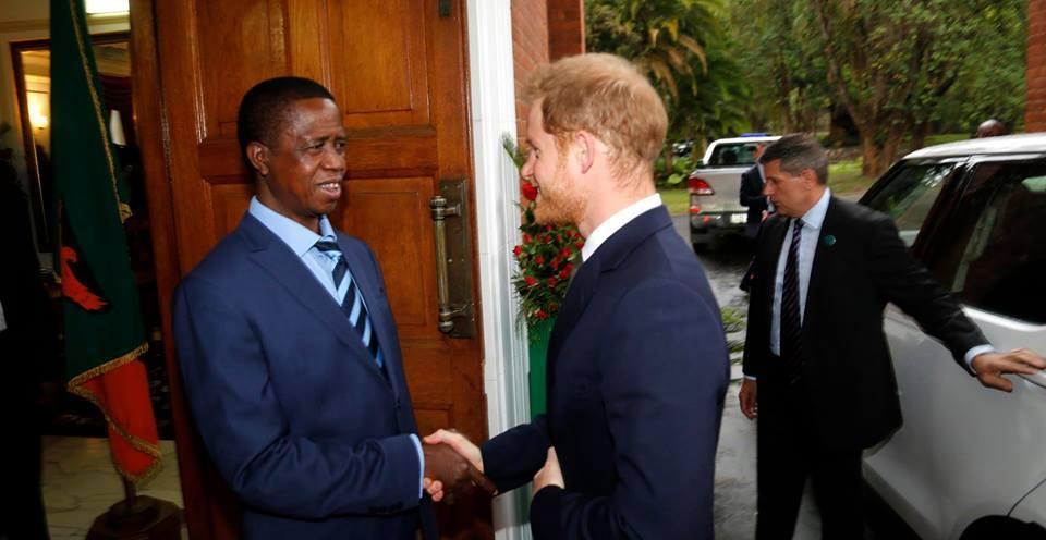 Prince Harry offers transfer of Botswana elephants to Zambia president Edgar Lungu.