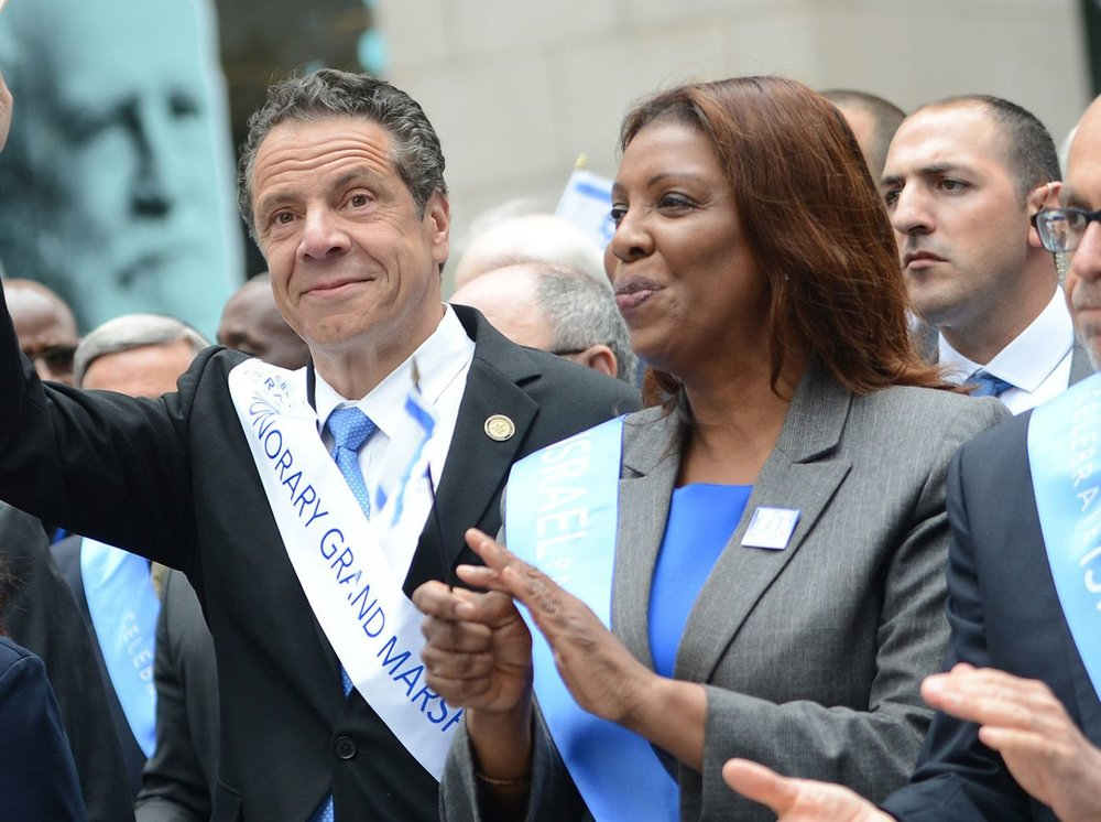 New York Governor Andrew Cuomo campaigning with then candidate for NY State Atty General Letitia James.