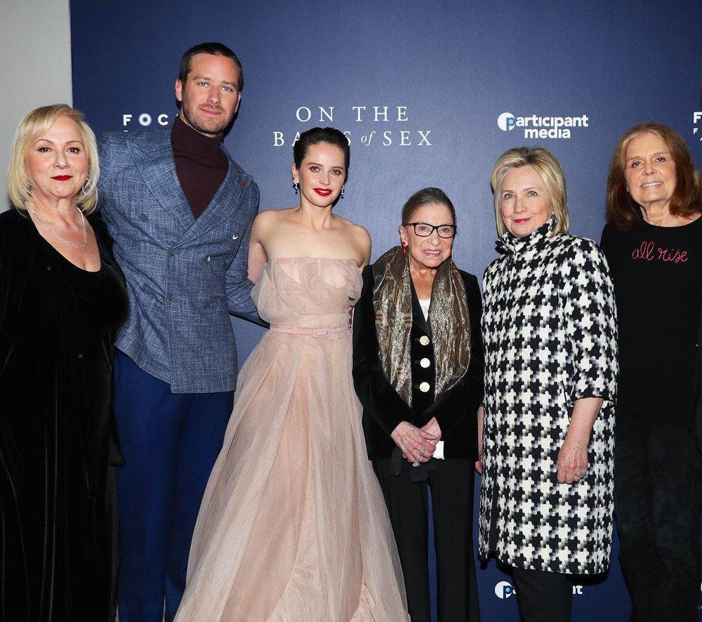 Director Mimi Leder, actor Armie Hammer, actor Felicity Jones, Justice Ruth Bader Ginsburg, Hillary Clinton and Gloria Steinem