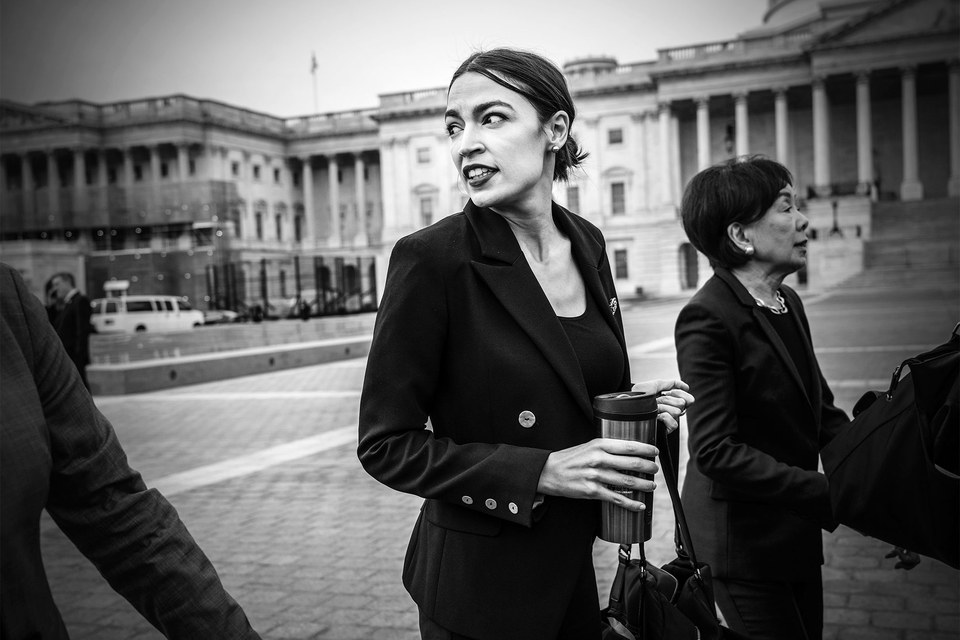 AOC photographed outside the Capitol on January 4, 2019. By Mark Peterson/Redux.