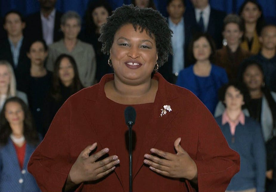 Stacey Abrams is the first African-American woman to deliver a State of the Union response in the 53-year history of this tradition. Pool response image via AP.