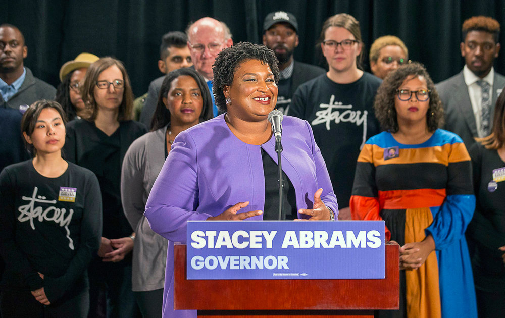 Stacey Abrams vows to keep fighting for voting rights in a speech, November 16, 2018. (Alyssa Pointer / Atlanta Journal-Constitution via AP)
