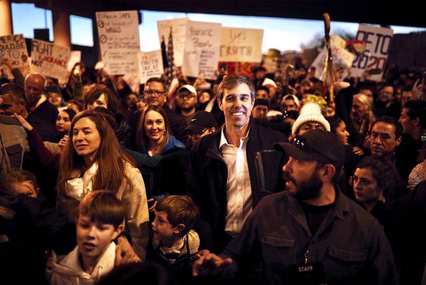 FORMER CONGRESSMAN AND POSSIBLE PRESIDENTIAL CANDIDATE BETO O'ROURKE MARCHED IN HIS OWN RALLY MONDAY. IMAGE: IVAN PIERRE AGUIRRE FOR THE TEXAS TRIBUNE